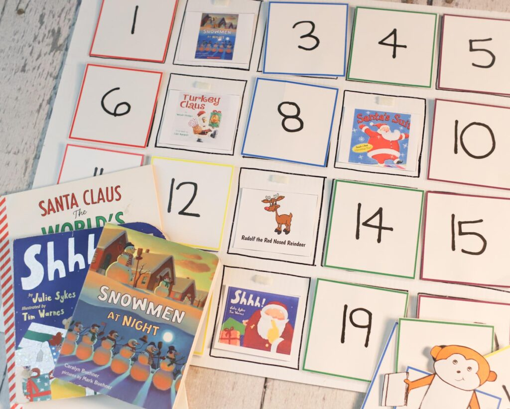 Christmastime story time board with Christmas kids picture books.