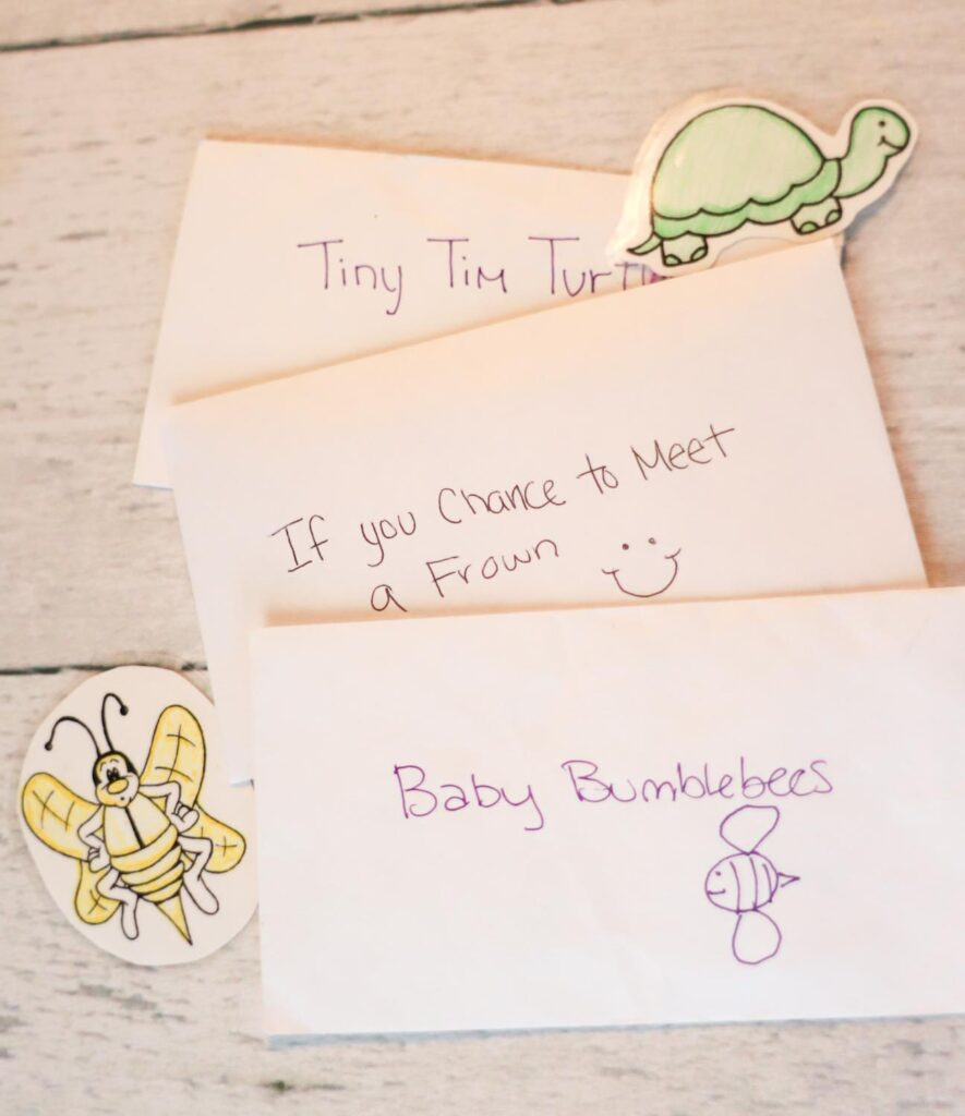 Envelopes for holding song buddy turtles and bees