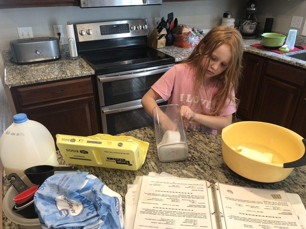 Kelsey Bills making sugar cookies.