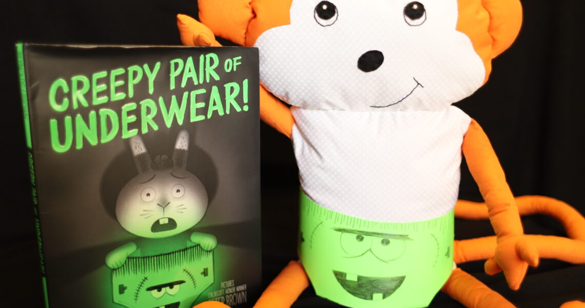 Picture Book Creepy Pair of Underwear! next to monkey wearing a creepy pair of underwear
