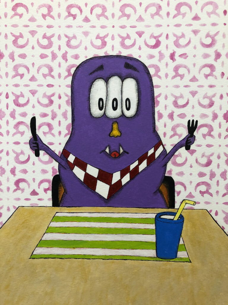 Picture Book Character Monster sitting down to eat.