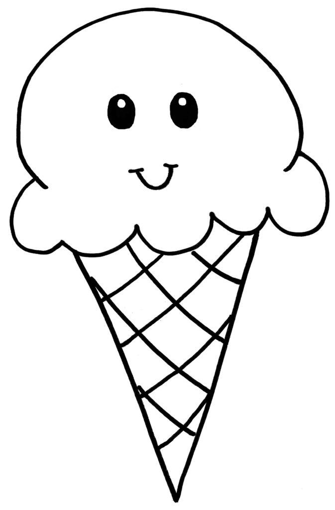 Ice Cream Cone Coloring Page. Ice Cream Cone Has a Smiley Face.