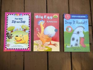 Easy to Read Books. Zip and Zap. Big Egg. Drop it Rocket.