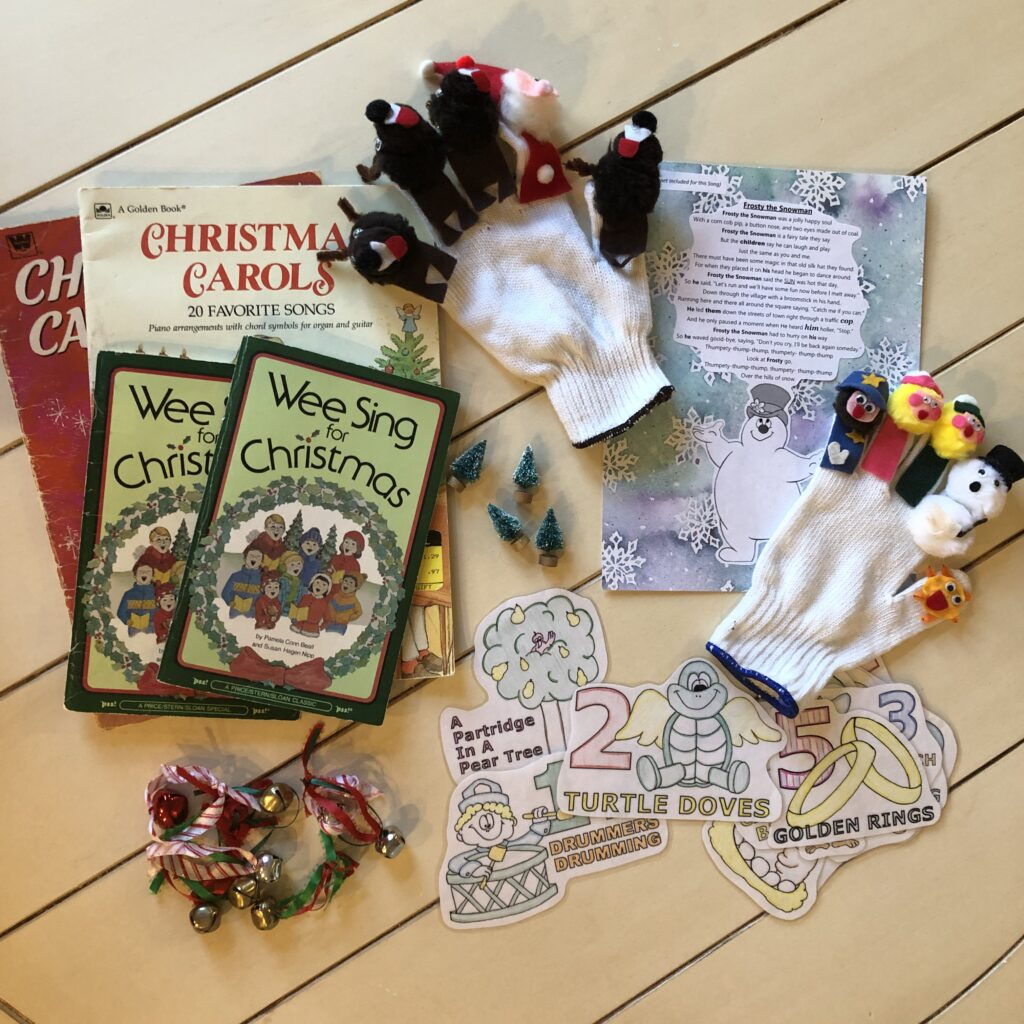 Christmas song books and song props for kids.
