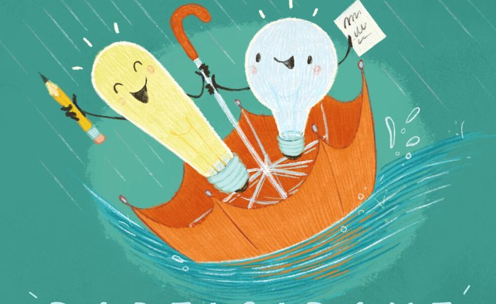 Cartoon Lightbulbs in an Umbrella advertising a writing event