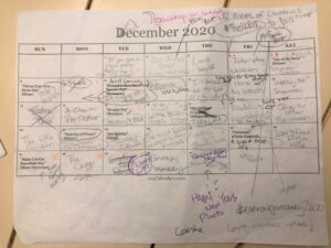 December calendar with text all over.