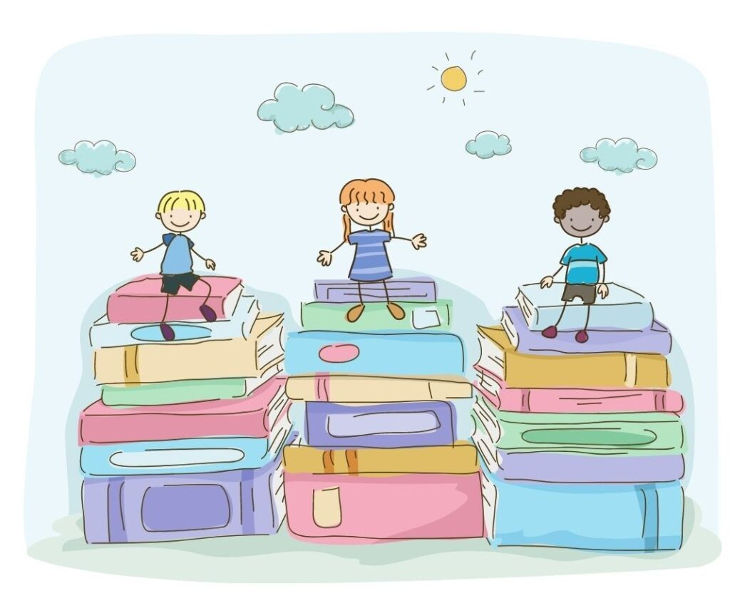 Cartoon kids sitting on piles of books