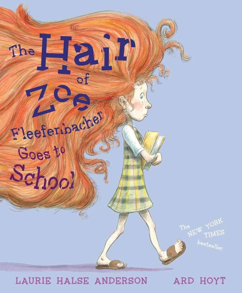 Picture Book THE HAIR OF ZOE FLEEFENBACHER GOES TO SCHOOL. Girl walking holding books. She has extremely huge hair.