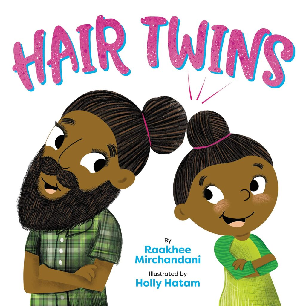 Picture book HAIR TWINS with picture of father and daughter on the cover