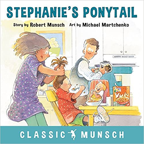 Picture Book STEPHANIE'S PONYTAIL. cover shows mom pulling girl's hair up in a ponytail.
