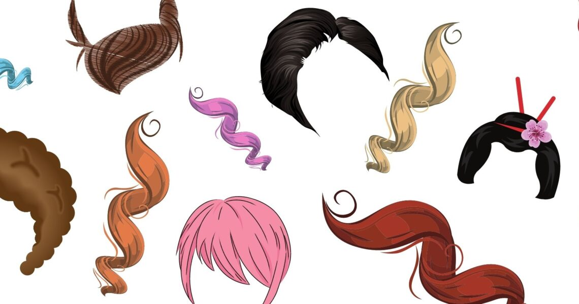 many different styles and colors of hair