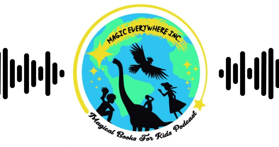 Logo with picture of dinosaur and kids